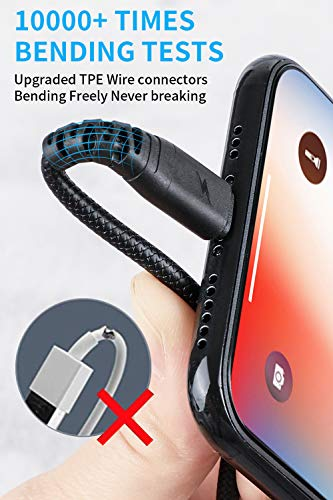 iPhone Charger Cable 10ft, Cabepow [3 Pack] Lightning Cable 10 Foot, Extra Long 10 Feet iPhone 2.4A Fast Charging Cord Compatible with iPhone 11/Xs/XS Max/XR/X / 8/8 Plus / 7/7 Plus / 6/6 Plus (Black