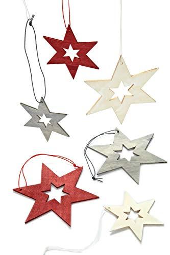 HEITMANN DECO Christbaumschmuck aus Holz - Sterne zum Aufhängen - Weihnachtsbaumschmuck Weihnachtsdeko - 24-teilig Rot, Grau, Natur