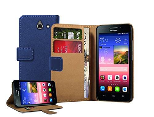 Membrane - Blau Brieftasche Klapptasche Hülle kompatibel mit Huawei Ascend Y550 (Y550-L01, Y550-L02, Y550-L03)