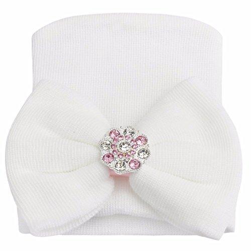 IEFIEL Gorro Gorra para Bebés Recién Nacidas Sombrero de Punto Recien Nacido Hat con Gorro Algodón Crochet Princesa Blanco talla única