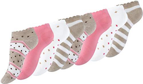 BestSale247 8 Paar modische Damen Mädchen Sneaker Socken Füßlinge Baumwolle (Haselnuss, 39-42)