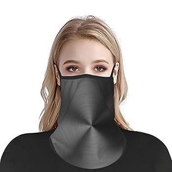 Black Metallic Luster Bandana Face Mask Neck Gaiter for Men Women Reusable Portable Ice Silk Face Cover Scarf Balaclava-Ear Loops & Snap
