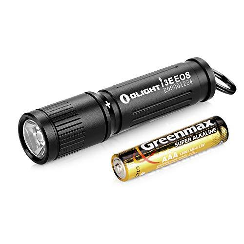 Olight I3E EOS Mini Linterna Llavero de 90 Lúmenes y Alcanza a 44m,Linterna Pequeña Resistente al Agua IPX8,Batería AAA Incluida,para Acampar, Cazar, Pescar y Emergencia[Clase de Eficiencia Energética A]
