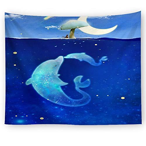 xkjymx Tela Colgante Tela Decorativa impresión de Delfines Tapiz Imagen 5 100x75cm