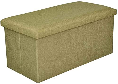 Ducomi Puf cubo plegable reposapiés, taburete contenedor de mezcla de lino, baúl contenedor para juegos, sillón contenedor para salón, decoración italiana (verde, 76 x 38 x 35 cm)