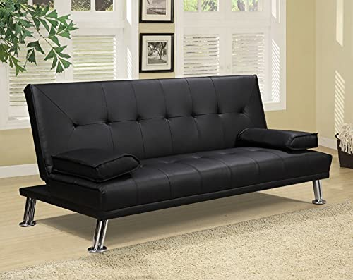 Sofá cama reclinable de 3 plazas con cojines modelo SABIR (piel, tela, blanco, negro, gris) (piel, negro)