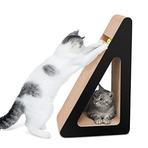 Aibuddy Griffoir pour chat, lit de repos en carton avec support à gratter incliné sur trois côtés, herbe à chat [68 x 36 x 27 cm angles de grattage multiples, carton supérieur et construction]