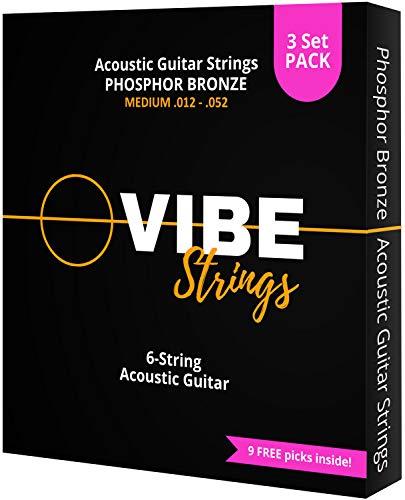 Vibe Strings Cuerdas Guitarra Acústica de Fósforo Bronce, 012-052, 3 Set