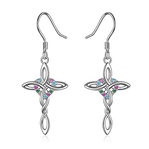 Cross Earrings Sterling Silver Religious Celtic Knot Cross Dangle Earrings for Women Teen Girls