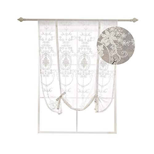 HomeyHo Sheer Tie Up Curtains for Kitchen White Ribbon Tieup Window Curtain Floral Embroidered Balloon Curtain for Bathroom Bedroom Living Room Decorative Roman Curtain Tie Up 46 x 63 Inch