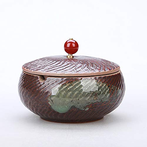 Chuen Lung Aschenbecher, moderner Tischascher mit Deckel, Zigarettenaschenbecher für den Innen- oder Außenbereich , Creative Ceramics (Farbe : F6, größe : 13CM in Diameter)