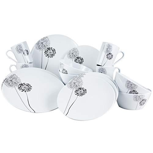 Melamin Geschirr Set 4 Personen - 16 Teile - ideal für Camping je 4 Teller 4 Dessertteller 4 Schale 4 Becher weiß/schwarz rund Essgeschirr Campinggeschirr modernes Melamingeschirr