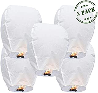 5-Pack Biodegradable Chinese Lanterns | Premium Eco Friendly White Paper Japanese Lanterns with Marker - Release in Funeral Memorial/Wedding/New Years/Festival Celebration (Large)