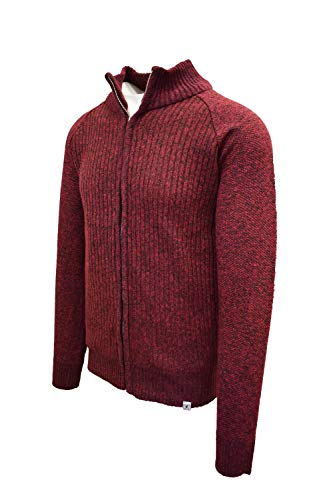 STACY ADAMS Men's Full Zippered Winter Sweaters (Medium, C-Wine)