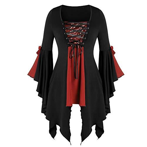Aiserkly Damen Plus Size Gothic Tunika T Langarmshirts Pailletten Schnürbluse Hexenkostüm Cosplay Karneval Fasching Bluse Mittelalter T-Shirt Kleid Rot 5XL