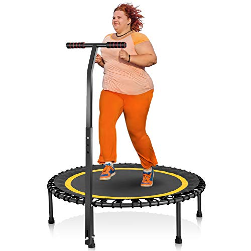 """HOMEOW 40"""" Mini Trampoline for Adults Bungee Rebounder 440lbs with Adjustable Handle Silent Fitness Trampoline Personal Indoor Gym Outdoor Exercise Workout Quiet Training, 440lbs Weight Limit Yellow"""