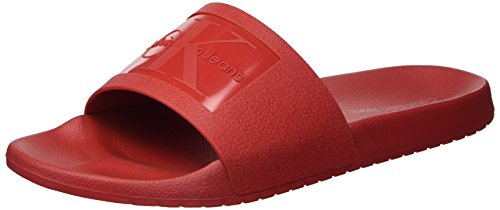 CK Jeans Men's Vincenzo Jelly Slide Sandal, Dark red, 10 M US
