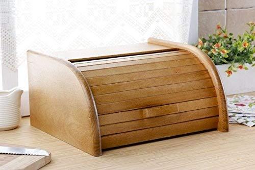 Contenitore per il pane in legno con chiusura a serranda per conservare il pane in cucina, Legno, Brown, large