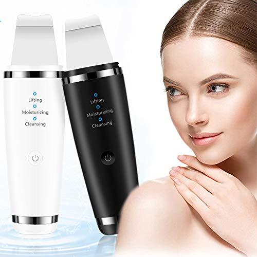 Spatule de nettoyage en profondeur pour le visage et la saleté de points noirs pour réduire les rides, les taches et le visage - Appareil de beauté avec 3 modes ultrasoniques - Charge USB L blanc
