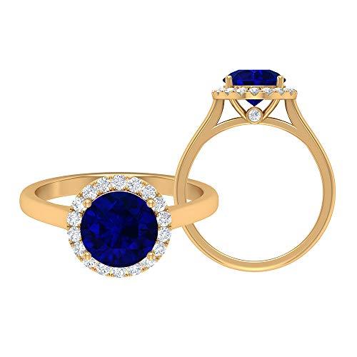 Anillo de zafiro azul, anillo de compromiso de halo, piedras preciosas redondas de 2,55 quilates, anillo de promesa de solitario D-VSSI de 8 mm, 10K Oro amarillo, Size:EU 51