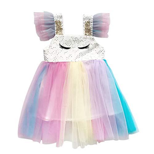 Julhold Toddler - Vestido de Tul sin Mangas para bebé, diseño de Princesa Bianco 2-3 Años