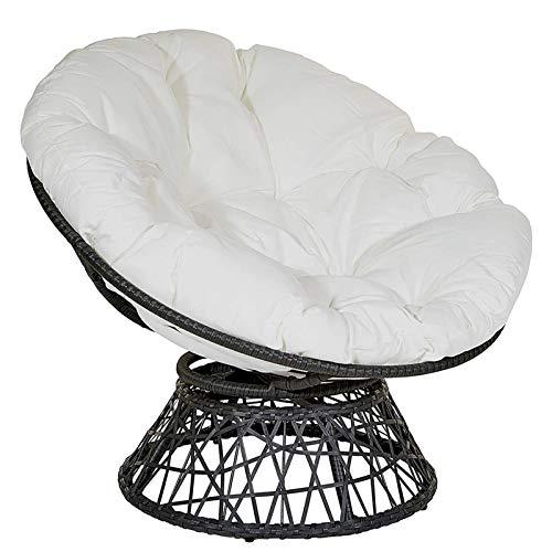 Papasan - Cojín redondo para silla Papasan, cojín de columpio para exteriores, impermeable, con lazos, cojines para silla Papasan, color blanco, 140 x 140 cm