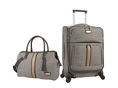 Nicole Miller 2 Piece Softside Luggage Collection - Expandable Lightweight Suitcase Set Includes 19 Inch Satchel and 20 Inch Carry On with Rolling Spinner Wheels (Cameron Tan)