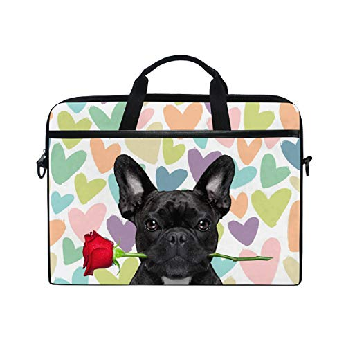 Moyyo Cute Funny French Bulldog Rose Love Laptop Bag Laptop Case with 3 Compartment Shoulder Strap Handle Canvas MacBook Computer Bag Personalised for Women Men Kids Girls Boys 15 inch