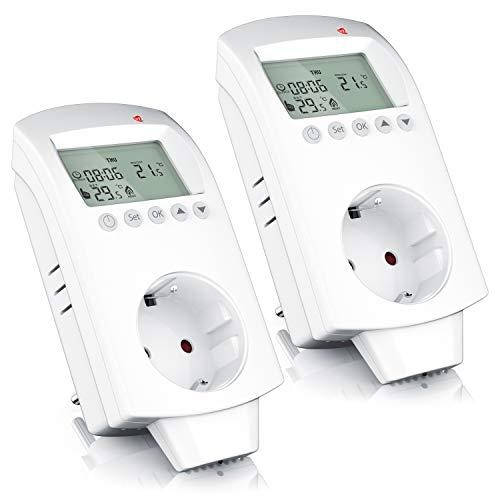 CSL - 2 x Thermostat digital - Steckdosen Thermostat für Heizgeräte Infrarotheizungen Klimageräte - Anti-Frost-Modus Frostschutz