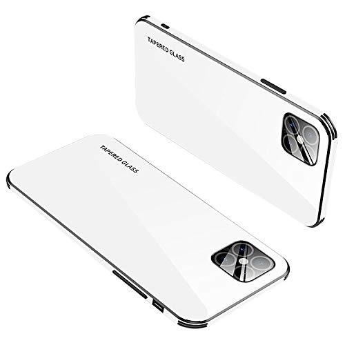 iPhone12 ケース/カバー TPU&背面強化ガラス シンプル 背面カバー アップル アイフォン12 かっこいい スリム ケース/カバー スマホケース おしゃれ カバー[iPhone 12(ホワイト)]