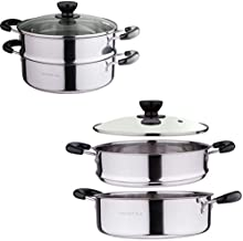 2 Tier Stainless Steel Steamer for Cooking, Dumpling Steamer, Vegetable Steamer with Handles, Steamer Pot Cookware Pot with Lid 8 QT by LakeTian (24cm/ 9?)