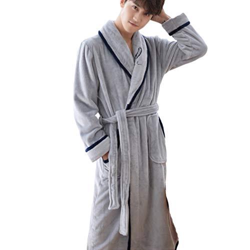 TOPBATHY flanel gewaad winter pyjama lange mouwen badjas paar pyjama flanel pluche warme pyjama gewaad zilver l XL ZILVER