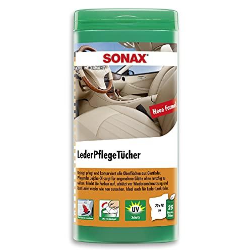 SONAX LederPflegeTücher Box (25 Stück) reinigen schnell, einfach und gründlich alle Oberflächen aus Glattleder | Art-Nr. 04123000