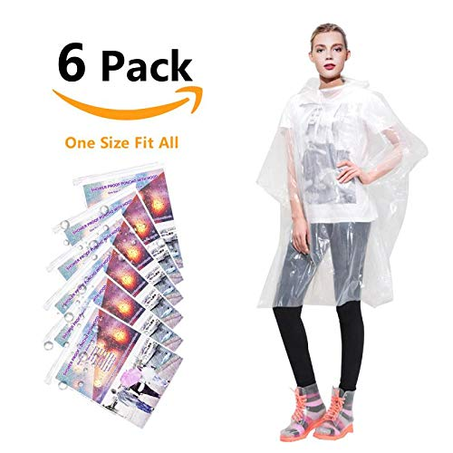 Annifree Rain Ponchos for Adults Disposable - Waterproof Lightweight (6 Pack) Rain Ponchos with Drawstring Hood 50% Thicker Material Emergency Rain Poncho Clear Color