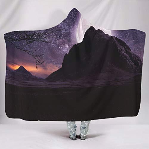 Manta suave con capucha de fantasía y luna sobre la montaña, árbol lila, estrellas, noche, paisaje de cielo, impresión cálida, forro polar, capa misteriosa de los compartimentos, para dormir, sofá, cultura del hogar., blanco, para Galaxy S3