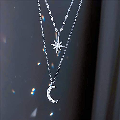 BJGCWY Diamond Shining Star Moon Double Layer 925 Sterling Silver Clavicle Chain Female Necklace