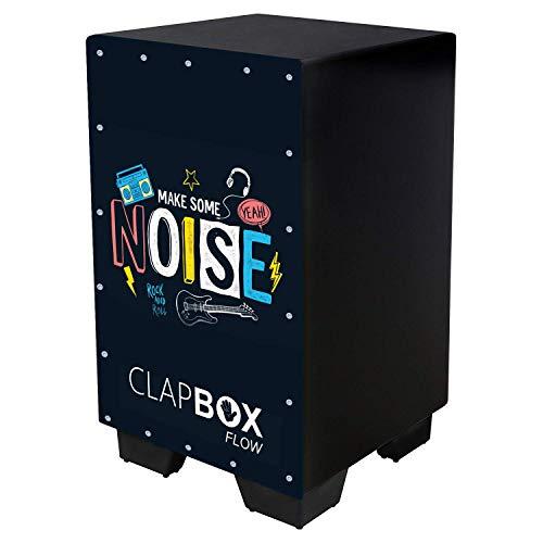 Clapbox Flow Graphic Cajon CB-FLW8, Walnut wood (H:50 W:30 L:30) - 3 Internal Snares, Black (Make some noise)