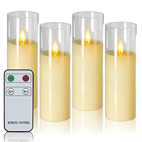 LED Flickering Flameless Candles Moving Wick Battery Operated Candles with Remote H6' xD2' Real Wax Glass Candles or Festival Wedding Christmas Parties Events White