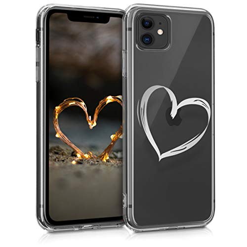 kwmobile Apple iPhone 11 Hülle - Handyhülle für Apple iPhone 11 - Handy Case in Herz Brush Design Silber Transparent