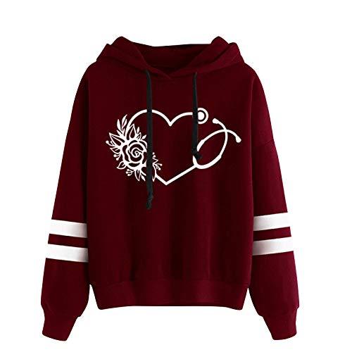 BuckerLer Sudadera para Mujer con Cuello Redondo y Estampado de Corazón con Capucha, Blusa de Empalme de Rayas de Manga Larga Suelta Informal Tops 2021 (Vino, XXL)