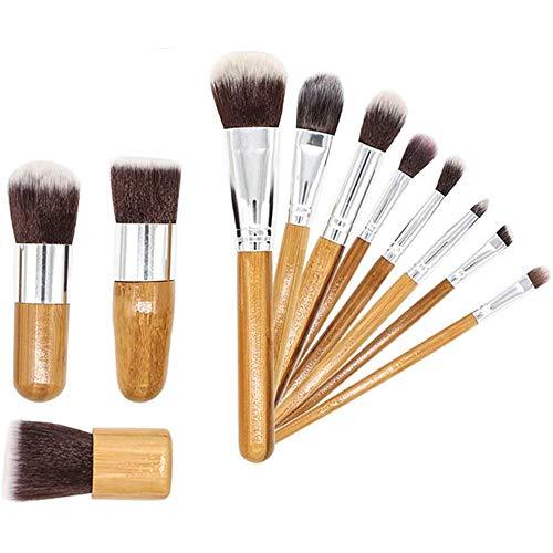 WEHQ Maquillage Brosses 11 Pièces de Maquillage de Brosse poignée en Bambou Professionnel pour la Fondation Blending Cosmétiques Maquillage pour Les Yeux Kits Pinceau