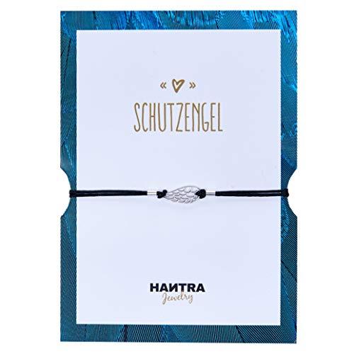 HANTRA Schutzengel Armband Damen - Anhänger aus 925er Sterling Silber - Handarbeit - Nickelfrei - Damen Armband Schwarz