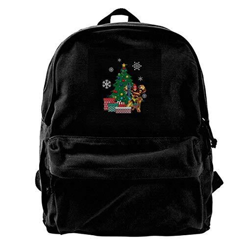 maichengxuan Canvas Backpack Samus Aran Metroid Around The Christmas Tree Rucksack Gym Hiking Laptop Shoulder Bag Daypack for Men Women