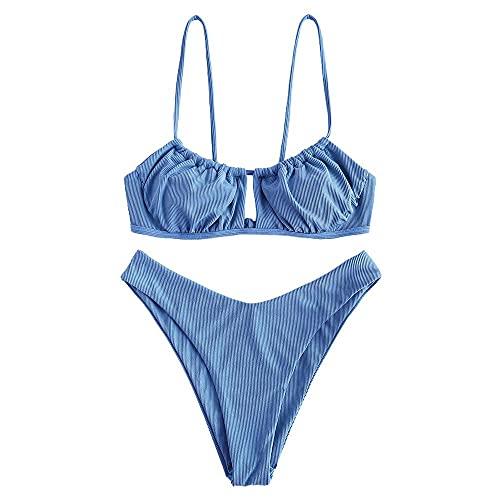 ZAFUL Womens Bikini Keyhole Tie Swi…
