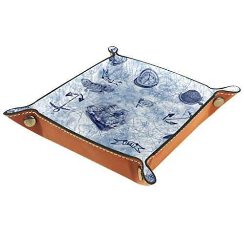 YATELI Caja de Almacenamiento pequeña, Bandeja de Valet para Hombre,pez Ancla náutica Vintage,Organizador de Cuero para Llaves de Caja de Monedas