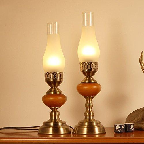 Ywyun Lampe de table chandelier en bois rétro européenne, Lampe de bureau LED salon chambre d'étude créative simple, abat-jour en verre