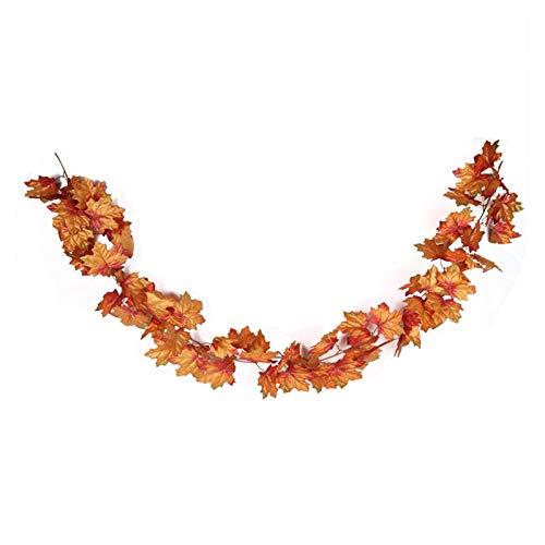68inch Silk Maple String Garland Decor Artificial Maple Decor Fake Maple for Halloween Thanksgiving Party Christmas Hanging Thanksgiving Decorations (Color : 68inch Garland D)