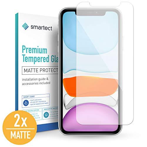 smartect Mat Beschermglas compatibel met iPhone 11 [2x Matte] - screen protector met 9H hardheid - bubbelvrije beschermlaag - antivingerafdruk kogelvrije glasfolie