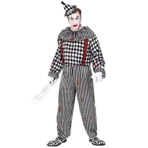 WIDMANN 10090 10090 - Disfraz retro de payaso asesino para Halloween, hombre, multicolor, XXL