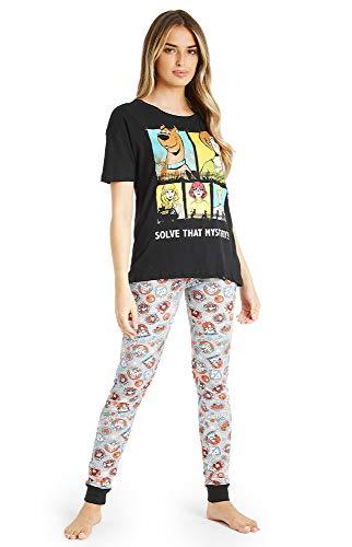 Scooby Doo Schlafanzug Damen Kurz, Zweiteilig 100{a0bf459e4cd677a4d05a14fd460f7718f0349e48d5060257aeb92c1bc01b40ce} Baumwolle Pyjama Damen, Cartoon T Shirt und Schlafhose Set Teenager Mädchen, Sommer Nachtwäsche, Geschenke für Damen (L)